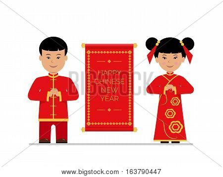 Cute boy and girl in traditional Chinese costumes. Template congratulations on the Happy Chinese New Year. Children with Chinese scroll isolated on white background. Vector illustration in flat style.