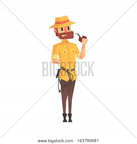 Adventurer Archeologist In Safari Outfit And Hat Smoking Pipe Illustration From Funny Archeology Scientist Series. Cartoon Male Indiana Jones Style Tombraider Character Vector Drawing.