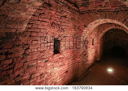 Part of the passage inside the wall. Visit musketeer chambers of the Peter-Paul Fortress in the framework of the cultural forum in St. Petersburg.