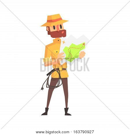 Adventurer Archeologist In Safari Outfit And Hat Studying The Map Illustration From Funny Archeology Scientist Series. Cartoon Male Indiana Jones Style Tombraider Character Vector Drawing.