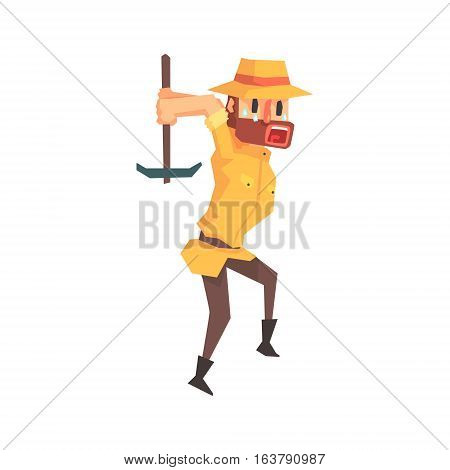 Adventurer Archeologist In Safari Outfit And Hat Working With Pick Axe Illustration From Funny Archeology Scientist Series. Cartoon Male Indiana Jones Style Tombraider Character Vector Drawing.