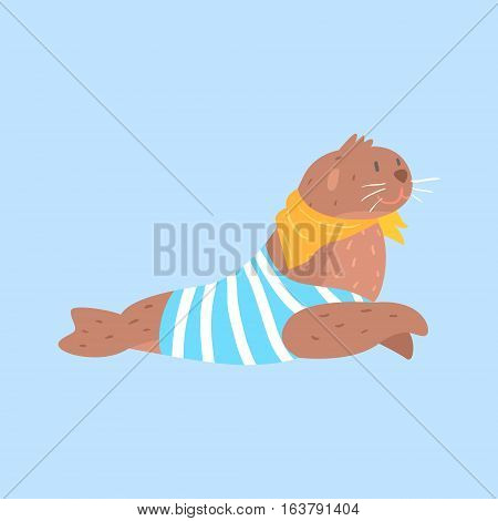 Seal In Sailor Shirt And Scarf, Arctic Animal Dressed In Winter Human Clothes Cartoon Character. Cold Region Fauna And Warm Clothing Funky Vector Illustration.