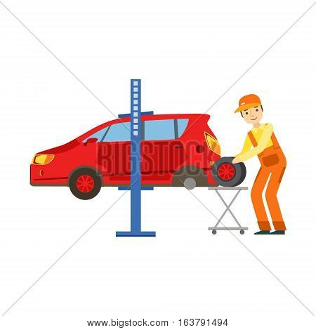 Smiling Mechanic Changing A Tire In The Garage, Car Repair Workshop Service Illustration. Cartoon Male Character In Dungarees Working In Auto Repair Shop.