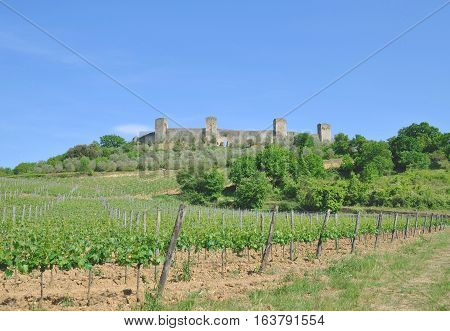 medieval Village of Monteriggioni near Siena in Chianti region,Tuscany,Italy