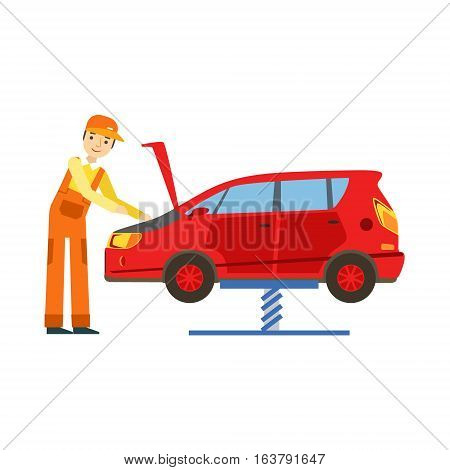 Smiling Mechanic Looking At Engine In The Garage, Car Repair Workshop Service Illustration. Cartoon Male Character In Dungarees Working In Auto Repair Shop.