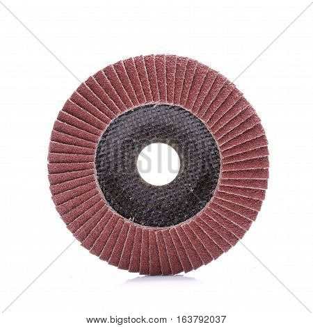 Abrasive wheel isolated on white background in studio