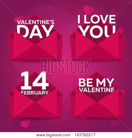 Happy Valentines Day Set Envelops. Pink Envelope On Pink Background. Vector Illustration.
