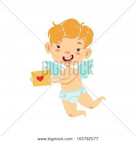 Boy Baby Cupid Delivering Love Letter, Winged Toddler In Diaper Adorable Love Symbol Cartoon Character. Happy Infant Cupid Saint Valentines Day Flat Vector Illustration.