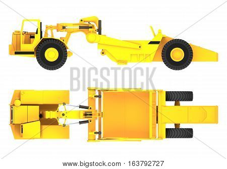 scraper machine side and top view 3d rendering