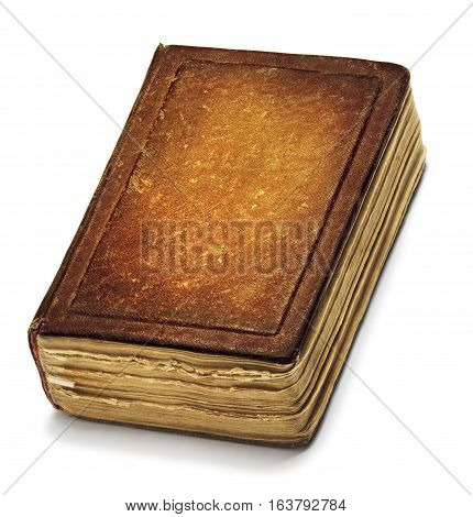 Old Book Cover Vintage Leather Books Front Texture Ancient Brown Papers Isolated over White