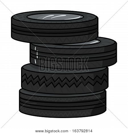 Barricade from tires icon in cartoon design isolated on white background. Paintball symbol stock vector illustration.