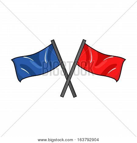 Red and blue flags icon in cartoon design isolated on white background. Paintball symbol stock vector illustration.
