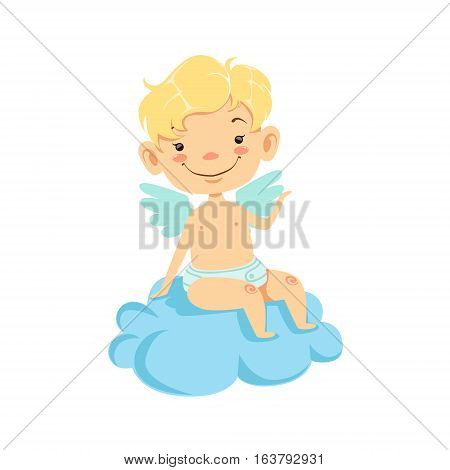 Boy Baby Cupid Sitting On Cloud, Winged Toddler In Diaper Adorable Love Symbol Cartoon Character. Happy Infant Cupid Saint Valentines Day Flat Vector Illustration.