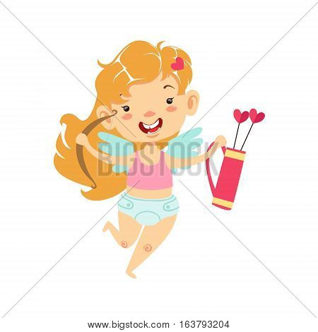 Girl Baby Cupid With Bow And Quiver, Winged Toddler In Diaper Adorable Love Symbol Cartoon Character. Happy Infant Cupid Saint Valentines Day Flat Vector Illustration.