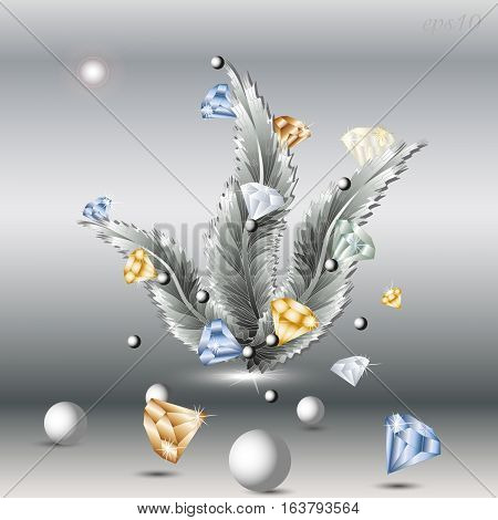 Feather and Diamond Abstract author design decoration gem ball pearl picture postcard handmade movement three fluffy object eps10 vector illustration Stock