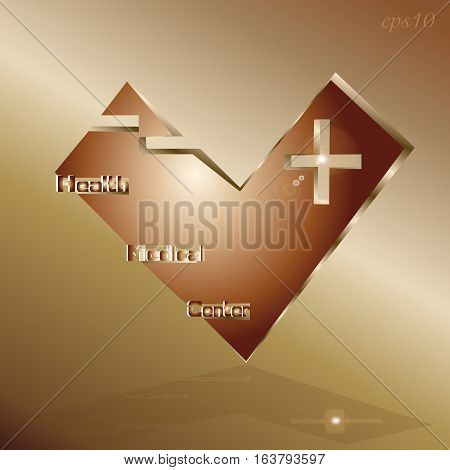 Logo Techno Medical Center Abstract, the author of the design style of industrial metal copper object cross symbol sign internet glint text shadow element eps10 Stock vector illustration of heart