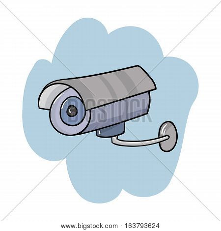 Security camera icon in cartoon design isolated on white background. Supermarket symbol stock vector illustration.