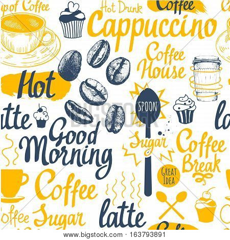 Seamless sketch background. Hot drinks menu. Vector Illustration pattern with cup, coffee maker, beans, spoon, labels.