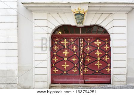 Historic door of a residential home in the town of Goerlitz, Germany
