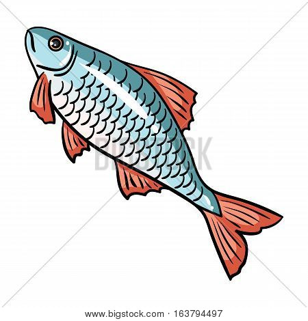 Fish icon in cartoon design isolated on white background. Fishing symbol stock vector illustration.