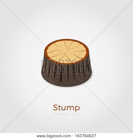 Cutted down old tree stump. Vector illustration in isometric style. Stylish flat colors. Forest felling process illustration.