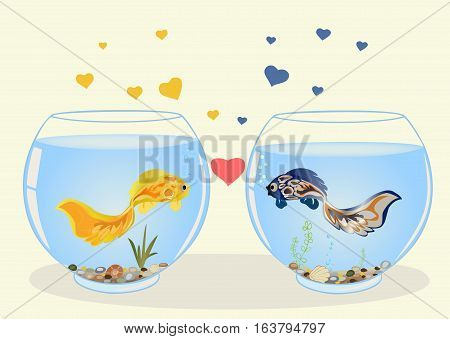 Two cute fish in love, they are swimming in different aquariums, look at each other. Romantic feeling concept. Greeting card with Valentine's day, the recognition in infatuation. Vector. Horizontal