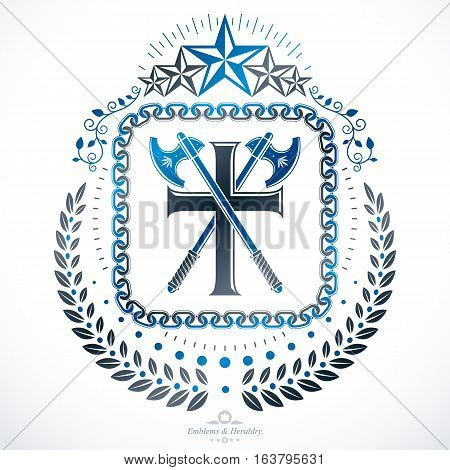 Vector vintage emblem created in heraldic design  with religious cross and hatchets