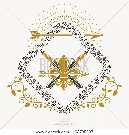 Vector vintage emblem created in heraldic design  with swords and spears