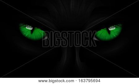green eyes black Panther on dark background