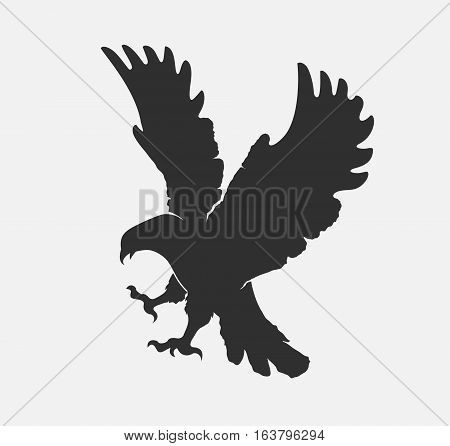 vector silhouette flying eagle on a white background