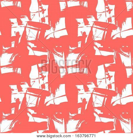 Seamless pattern with creative texture. Vector illustration of spray paint on white background. Red ink smudges.