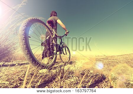 Healthy life.Sport and bike in vintage style.Landscape and bicycle