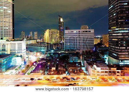 Bangkok city at night. Skyscraper and buildings