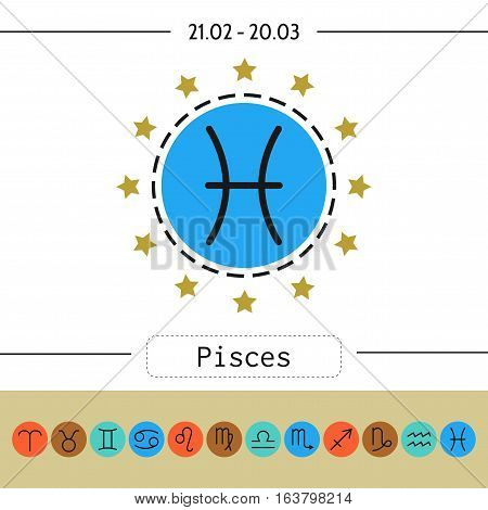 Pisces. Signs of zodiac, flat linear icons for horoscope, predictions. Vector illustration