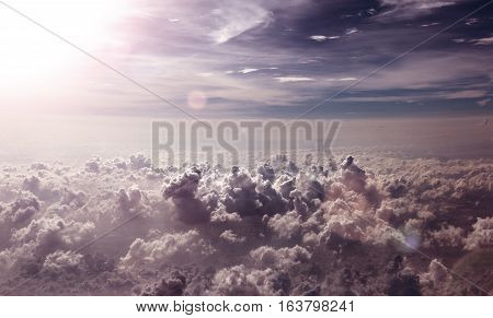 Clouds and sunset sky above.Surreal sky scenery.Surreal sky scenery.Flying over sky clouds