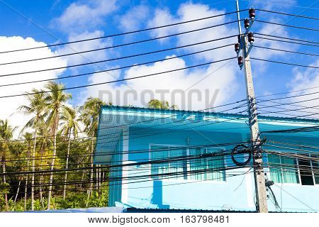 Thailand architecture.colorful facade.Light cables and light poles
