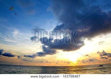 Sunset seascape. Beach and water sports.Thailand travels