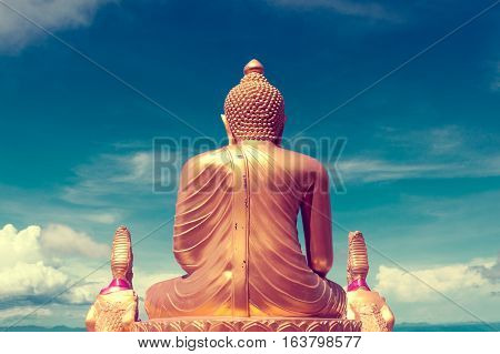 Asian trip. Buddha statue and landmarks.Exotic travels and adventures .Thailand trip.Buddha and landmarks