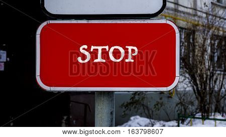 Red Stop Sign, Car Sign, Words On Paper Sticker