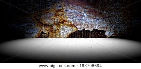 Cement floor background and old wall texture.Horizontal frame