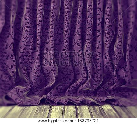 Retro purple floral curtains background anad wood floor background