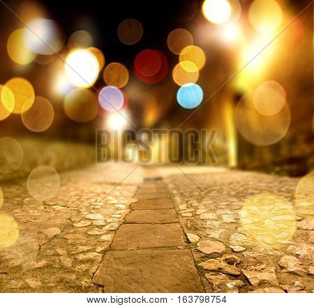 Cobbled floor background.Abstract street floor.Abstract stone floor at night scenery