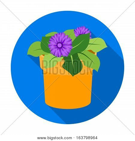 Flower in the pot icon in flat design isolated on white background. Bio and ecology symbol stock vector illustration.