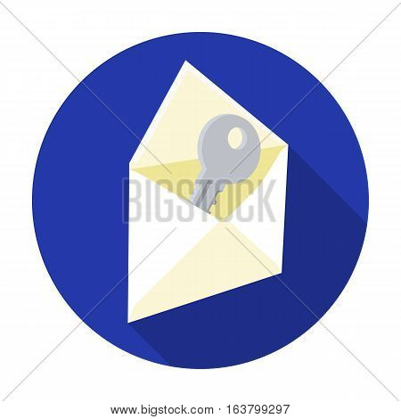 E-mail with key password icon in flat design isolated on white background. Hackers and hacking symbol stock vector illustration.