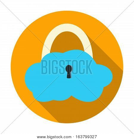 Data cloud security icon in flat design isolated on white background. Hackers and hacking symbol stock vector illustration.
