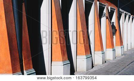 Building facade in Poznan Palazzo Rosso; Poland