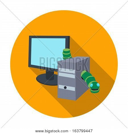 Computer worm icon in flat design isolated on white background. Hackers and hacking symbol stock vector illustration.