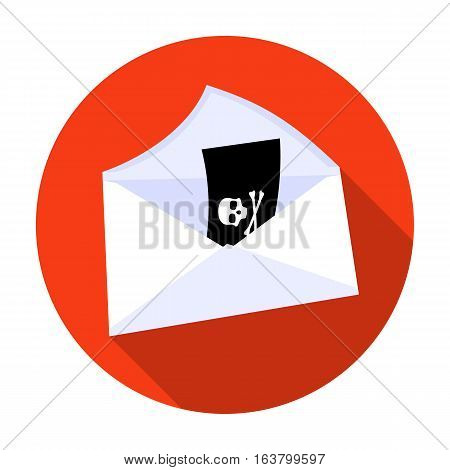 E-mail with virus icon in flat design isolated on white background. Hackers and hacking symbol stock vector illustration.
