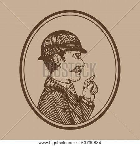 Vintage Engraved Man