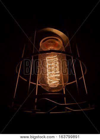 Close up shot of a vintage light bulb.